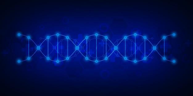 Dna鎖の背景と遺伝子工学または実験室の研究。医療技術と科学の概念。