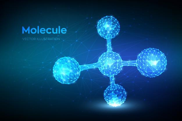 分子構造。低多角形の抽象的な分子。 dna、原子、ニューロン。