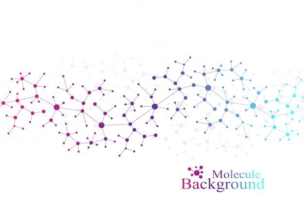 現代の構造分子dna。原子。医学、科学、技術、化学の分子とコミュニケーションの背景。医療科学の背景。神経叢の線。カード表面、イラスト。
