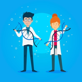 Dna分子のテーマを保持している科学者