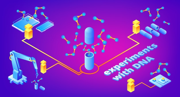 Dna実験は、医学遺伝学研究と遺伝子微生物学の技術のイラストレーションです