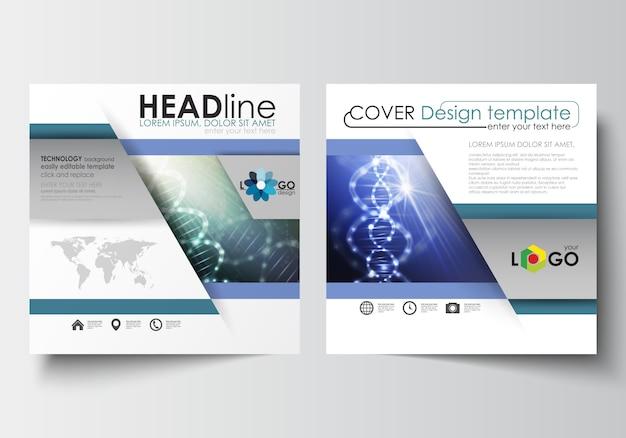 スクエアデザインのパンフレット、雑誌、チラシのビジネステンプレート。 dna分子構造