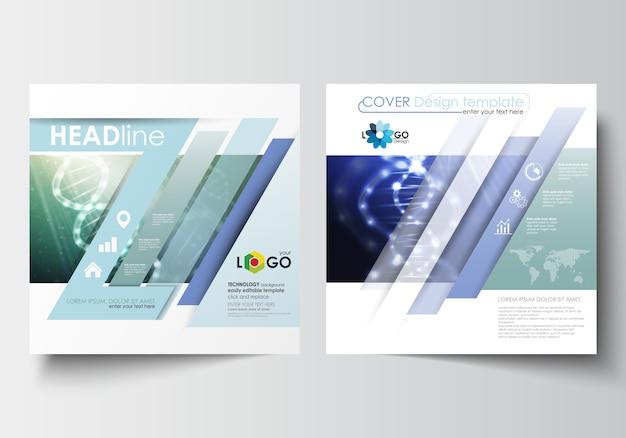スクエアデザインのパンフレット、雑誌、チラシ、小冊子用のビジネステンプレート。 dna分子構造