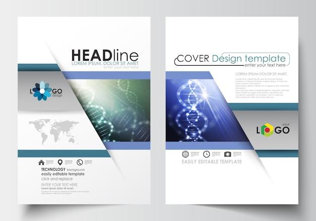 パンフレット、雑誌、チラシ、小冊子のためのテンプレート。カバーデザインテンプレート。 dna分子構造