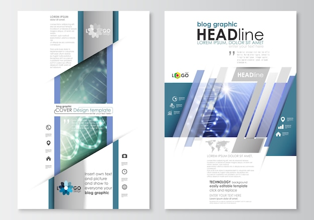 ブログのグラフィックビジネステンプレート。ページのウェブサイトのデザインテンプレート。 dna分子構造