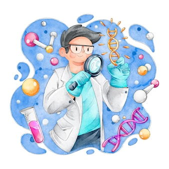 Dna分子を保持している科学者