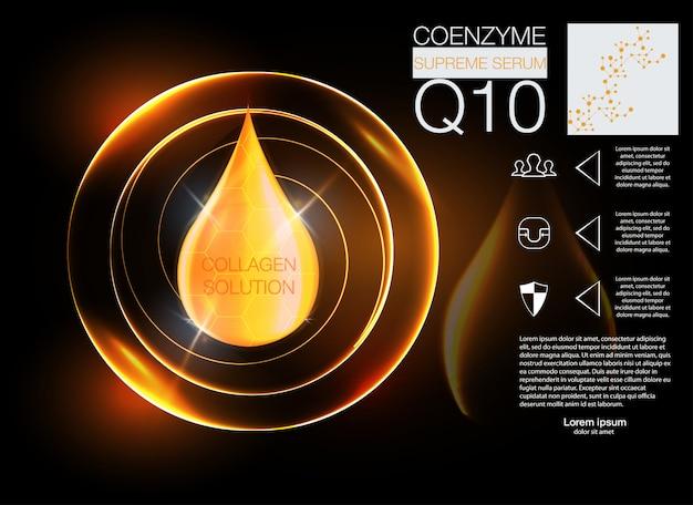 化粧品のソリューション。 dnaヘリックスによる最高のコラーゲンオイルドロップエッセンス。