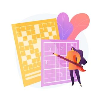 クロスワードパズルと数独の抽象的な概念のベクトル図を行います。家にいるゲームやパズルを使い、脳の形を整え、自己隔離の時間を費やし、検疫のレジャー活動の抽象的な比喩を使いましょう。