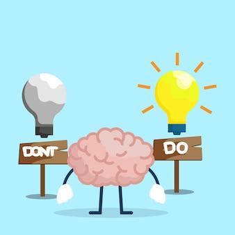 전구 아이디어 벡터 일러스트 만화 평면 디자인으로 두뇌를 수행하고 하지 마십시오.