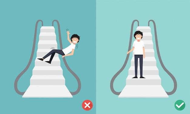 에스컬레이터 안전을 수행하고 수행하지 마십시오.
