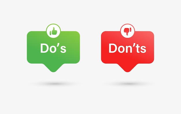 Что делать, а что не нравится и не нравится - набор значков или кнопки с речевыми пузырями с большим пальцем вверх вниз