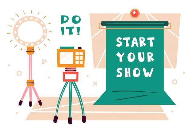 Сделай это, установи. blogger items. зеленый экран, камера, молния. делать видео в студии. производство медиаконтента. подкаст, стрим, канал. плоская иллюстрация изолированы