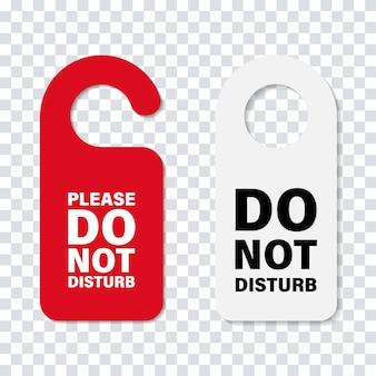 ハンドルドアサインを邪魔しないでください。孤立したホテルサービスの段ボールの看板。ホテルのドアのメッセージ。