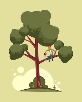 속담 개념에 앉아 가지를 자르지 마십시오. 나무 가지를 톱질하는 남자. 플랫 만화 그림입니다.
