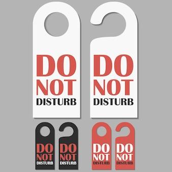 設定された標識を邪魔しないでください。ホテルのドアのバッジ。ベクトルイラスト。
