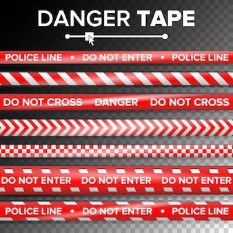 Не входите, опасность. карантин безопасности красные и белые ленты. изолированные на прозрачном фоне Premium векторы