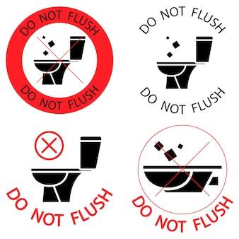 화장실을 플러시하지 마십시오. 쓰레기가 없습니다. 종이 타월을 플러시하지 마십시오. 위생 제품 아이콘