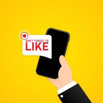 삽화를 좋아하는 것을 잊지 마십시오. 소셜 미디어 개념입니다. 격리 된 배경에 벡터입니다. eps 10.