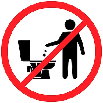 Не мусорить в туалете. в туалете нет мусора. сохранение чистоты. просьба не смывать бумажные полотенца, сантехнические изделия, подпись. запрещенный значок. не мусорить, предупреждающий символ. публичная информация. вектор