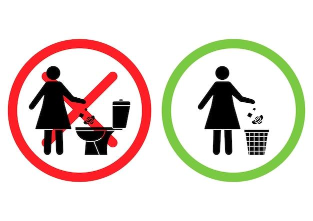 화장실에 쓰레기를 버리지 마십시오 화장실 쓰레기를 버리지 마십시오 여성이 화장실에 생리대를 던집니다