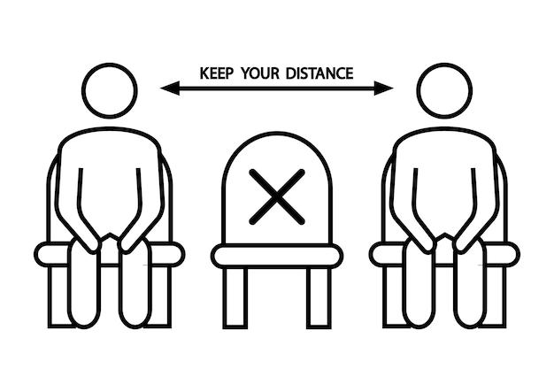 ここに座ってはいけません。座席の禁止アイコン。社会的距離、公共の椅子に座っている物理的距離、アウトラインアイコン。距離を置く。ベクトルイラスト