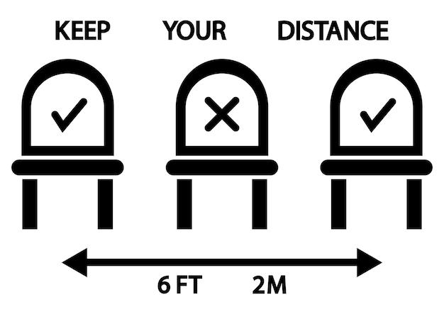 ここに座ってはいけません。公共の場所または交通機関の看板。椅子の座席の6フィートまたは2メートルの社会的距離。ここに座って禁止されているアイコン。座っているときは距離を保ってください。ベクトルイラスト