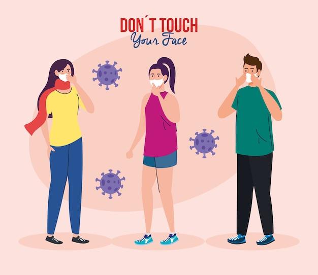 顔に触れないでください、若者はフェイスマスクを使用して、顔に触れないようにしてください、コロナウイルスcovid19防止