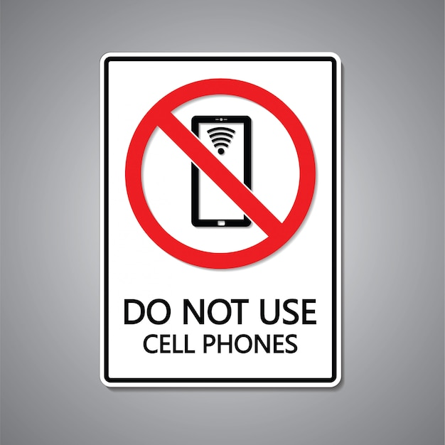 携帯電話のサインを使用しないでください