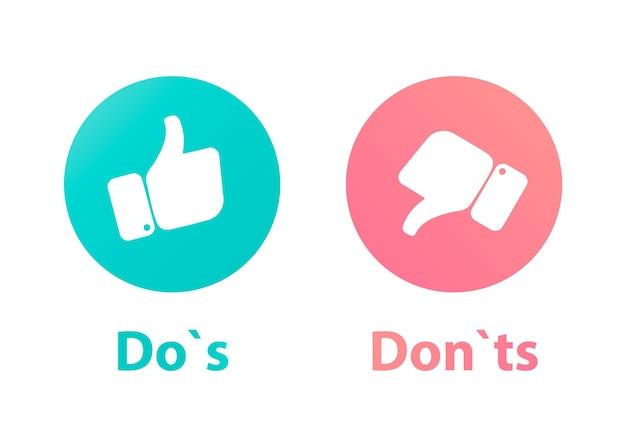 Do's와 don't 또는 like & like. 엄지손가락 위로 및 아래로 엄지손가락 아이콘이 있는 아이콘
