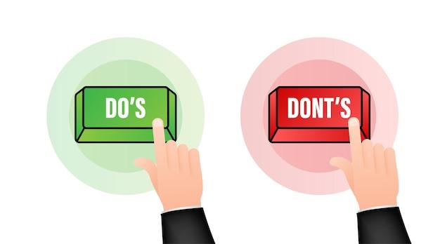 [すべきこと]と[すべきでないこと]ボタン。フラットシンプルなサムズアップシンボルミニマルラウンドロゴタイプ要素セット。ベクトルイラスト