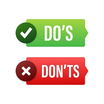 Do s 및 don ts 버튼 그림