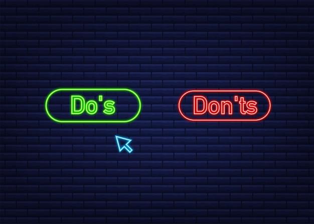 Do s와 don ts는 엄지손가락을 위 또는 아래로 좋아합니다. 네온 아이콘입니다. 벡터 재고 일러스트 레이 션.