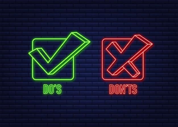 Do s 및 don ts 네온 버튼 플랫 간단한 엄지 위로 기호 최소한의 로고 타입 요소 세트