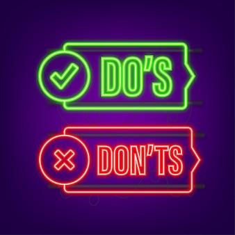 Do s 및 don ts 네온 버튼 플랫 간단한 엄지 위로 기호 최소한의 라운드 로고 타입 요소