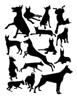 Doberman犬の動物のシルエット。