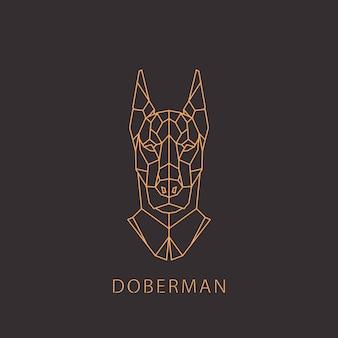 幾何学的な現代的なスタイルのdoberman犬。 Premiumベクター