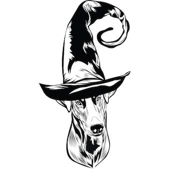 Доберман собака в шляпе ведьмы на хэллоуин