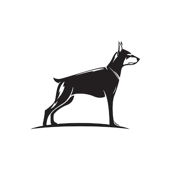 Doberman dog silhouette illustration