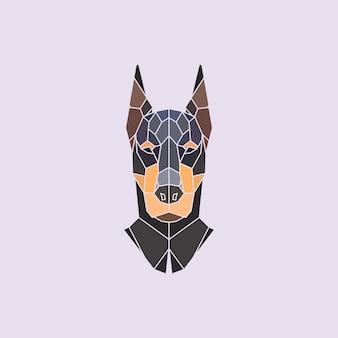 ドーベルマンの頭。ベクトル多角形の背景。