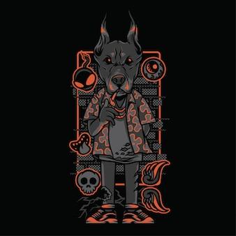 Доберман неоновая иллюстрация в оттенках серого