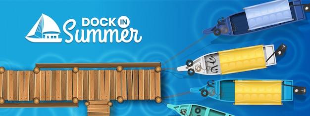 Dock in summer banner background