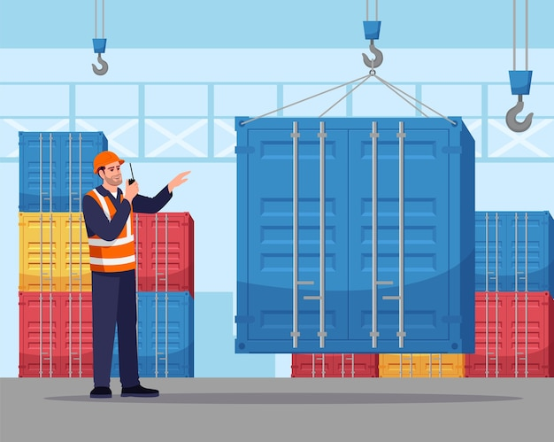 Dock worker semi   illustration. loading freight container. cargo shipping service. warehouse male worker in hard hat with walkie talkie radio  cartoon character for commercial use