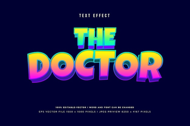 The doctor 3d text effect on dark navy background