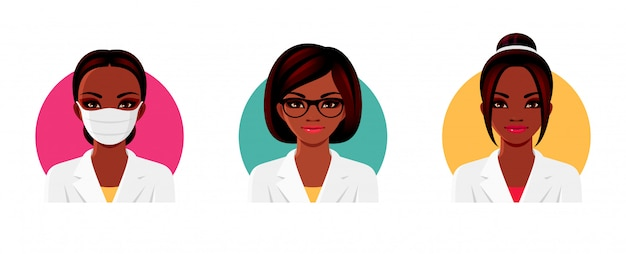 Doctor afro-american woman character in white medical uniform with various hairstyles, glasses and medical face mask. female avatars set.  illustration.