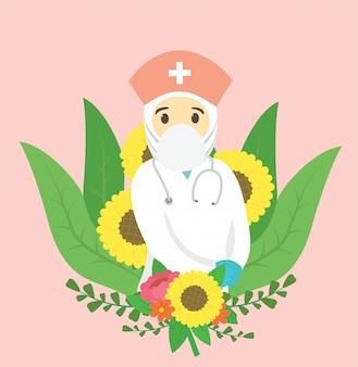 의사는 또한 코로나 바이러스 전염병에 기여하고 꽃 배경으로 감사합니다 간호사