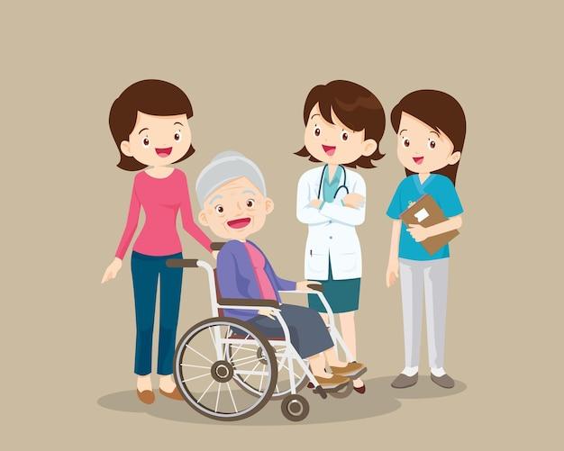 질병에서 회복 된 의사와 노인 여성 환자