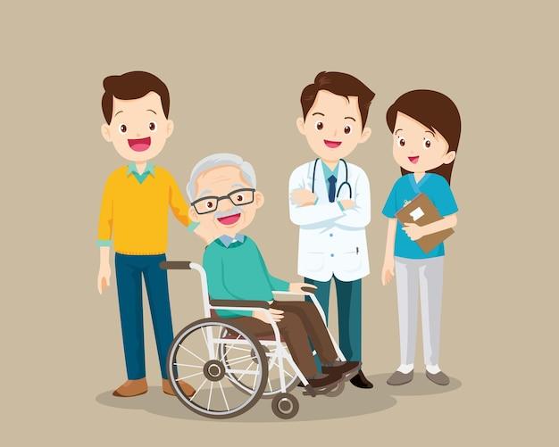 질병에서 회복 된 의사와 노인 남성 환자