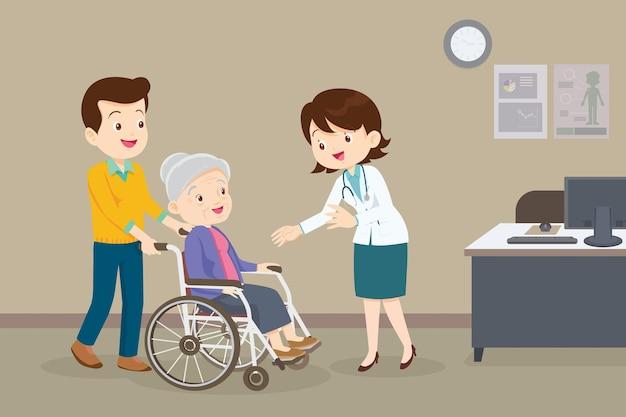 ホイールチェアの医師と年配の女性医師がホイールチェアの患者をチェック
