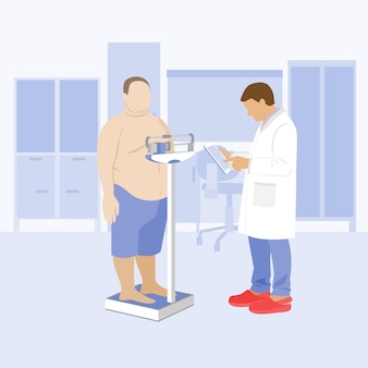 클리닉에서 의사와 뚱뚱한 체중 환자 비만 및 당뇨병 의료 저울