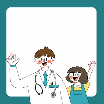 Доктор и девушка инфографики page tempate asset doodle иллюстрация